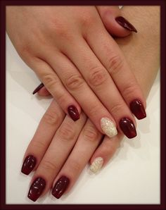 Cabernet red nails with glitter