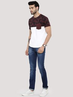 ZOBELLO Floral Panel T-Shirt With Patch Pocket
