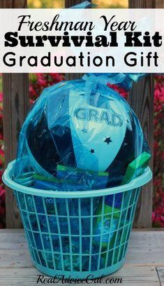 Cool graduation gift idea for a high school graduate. Make a freshman year survival kit gift basket