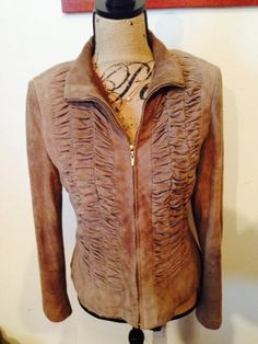 RARE - St. John  Brown Silken Suede Ruched Jacket Size 4 #StJohn #GoatSuede