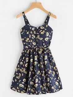 Ditsy Print Random A Line Cami Dress