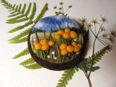 Needle felted yellow flower brooch  Felt by FeltAccessories