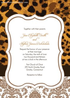 FREE PDF Template download. Leopard Print Wedding Invitation. Template is very easy to edit and print at home.