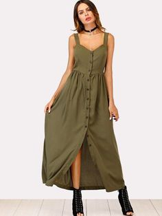 Shop Solid Button Through Cami Dress online. SheIn offers Solid Button Through Cami Dress & more to fit your fashionable needs. Shift Dresses, Casual Evening Dresses, Nice Dresses, Summer Dresses, Summer Outfits, Traje A Rigor, Maxi Robes, Latest Dress, Mode Style