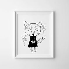 Digital print kids room decor Fox nursery print wall art, hand drawn illustration in black and white.  - High quality PDF and JPEG files - Sizes 8 x10 -…