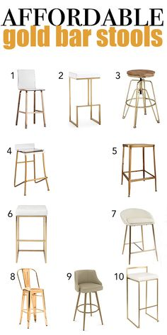I had the hardest time finding gold bar stools when we moved, which is why I'm writing on 10 Affordable Gold Bar Stools for Home Design! Gold Bar Stools, Gold Stool, White Stool, Acrylic Bar Stools, Best Bar Stools, White Wood Bar Stools, Purple Bar Stools, Metal Stool, Home Design