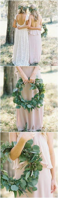 Greenery wreath, bouquet alternative, greenery crowns, pink bridesmaid dress // Nathan Westerfield