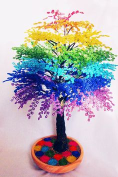 - Her Crochet Beaded Crafts, Beaded Ornaments, Wire Crafts, Diy And Crafts, Unique Trees, Colorful Trees, Beaded Bouquet, Bonsai Wire, Tree Of Life Art