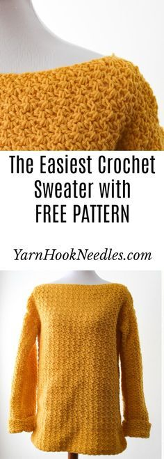 Try The Easiest Crochet Sweater You'll Ever Make! – Carol Lewis Try The Easiest Crochet Sweater You'll Ever Make! Want to make your first garment but are a little scared? Try this easy beginner crochet sweater pattern for FREE from YarnHookNeedles! Black Crochet Dress, Crochet Cardigan, Crochet Shawl, Knit Crochet, Crochet Sweaters, Crochet Tops, Crotchet, Crochet Jumpers, Crochet Granny