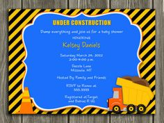 Printable Road Construction Baby Shower Invitation | Dump Truck | FREE thank you card included | Party Package Decorations Available | www.dazzleexpressions.com