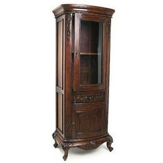 Curio Cabinets - Hand-Carved Curio Cabinet with Glass Door in Dark or Pearl White Finish | Kitchensource.com