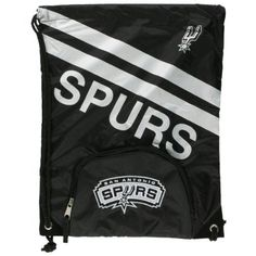 San Antonio Spurs - Logo Stripe Nylon Backsack by NBA. $21.99. Officially Licensed San Antonio Spurs Merchandise. Fans of the San Antonio Spurs will love this back sack! Made from durable nylon, this lightweight bag comes in team colors with a high density screenprint of the team name, double stripe and team logo on front. The front zipper pocket also has an embroidered felt Spurs logo! Full size main compartment with drawstring closure is perfect for safely carrying...