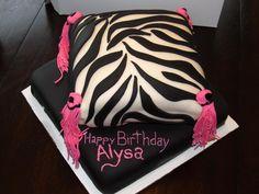 Zebra Patterned Pillow Cake