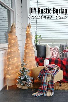 DIY rustic burlap Christmas trees - So easy to make!!