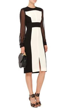 Crepe Bicolor Dress with Sheer Sleeves by Prabal Gurung Now Available on Moda Operandi