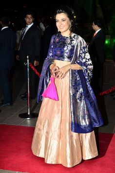 Mini Mathur in an anarkali designed by Sanjay Garg. Check it out on: http://www.vogue.in/content/bollywood-best-dressed-2014-indian-ethnic#31