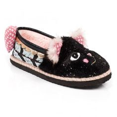 Irregular Choice Cat Nap 4427-01A Womens Slippers - Black