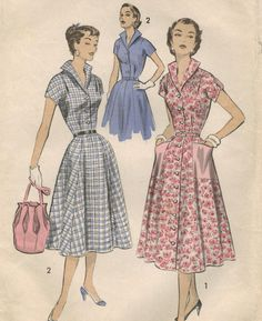 1950s Advance 7993 Vintage Sewing Pattern Misses Dress Size 16 Bust 34