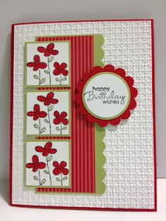handmade birthday card ... focal point grouping with inchie column ... red and light green with white ... Stampin' Up!