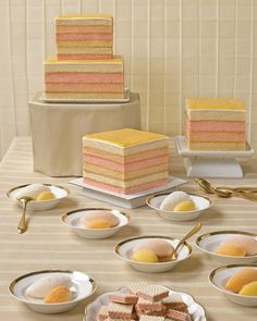 Here, we put the notion of icing on ice, relying instead on unadorned pastel layers for graphic appeal. Coconut pound cake, tinted with gel-paste food coloring, serves as the foundation, while white fondant and passion-fruit curd rests on top (the curd is also between each layer).