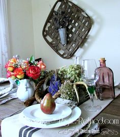 Rustic Tablescape for Spring using simple white dishes and farmhouse decor