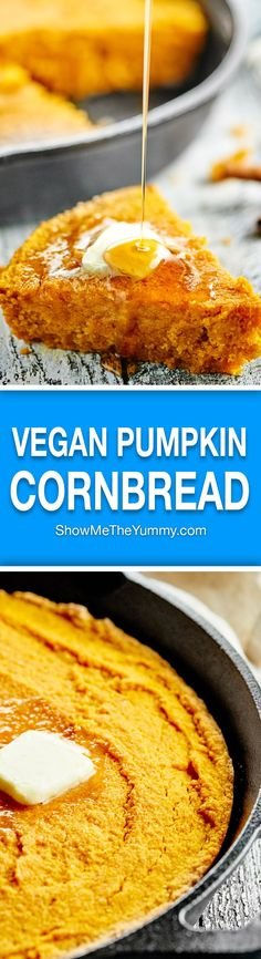 This pumpkin cornbread is a great, easy, vegan side dish for any meal! It's made with whole wheat pastry flour, coconut oil, and smothered in maple syrup! http://showmetheyummy.com #vegan #pumpkin