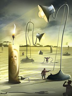 Velas e Abajures by Marcel Caram. Magritte, Marcel, Wassily Kandinsky, Max Ernst, Pop Surrealism, Art Graphique, Dali, Beauty Art, Surreal Art