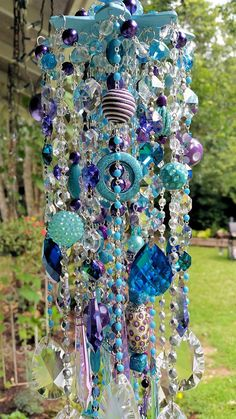 Aqua and Purple Antique Crystal Wind Chime Lilac by sheriscrystals