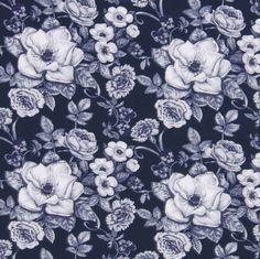 Old flowers mörkblå