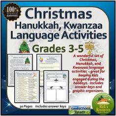 These fun Christmas, Hanukkah, Kwanzaa activities for kids focus on reading and language. The worksheets are a great way to keep students productive and motivated around the holidays. Easy print and use format. Resource Details These 16 Christmas, Hanukkah, Kwanzaa Language worksheets are perfect for 3rd grade, 4th grade, 5th grade students.