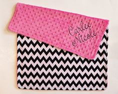 Chevron PERSONALIZED stroller blanket. Because my child will have to any everything monogrammed