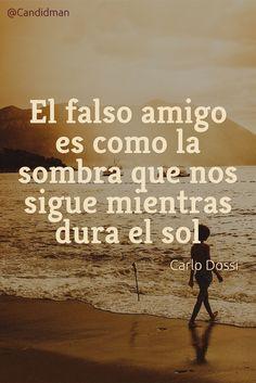 20160905 El falso amigo es como la sombra que nos sigue mientras dura el sol - Carlo Dossi @Candidman pinterest