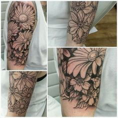 Flower half sleeve. This is so cute, except I would get it all pretty colors. Not super colorful, like obnoxious colorful. But like pretty subtle colors. :)