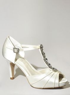 Ivory Fashion Wide Fit Daniella Jewel Court Shoes