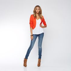 cute outfit for orange jacket