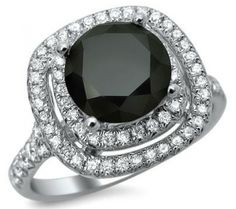 2.50ct Black Round Diamond Double Halo Ring 18k White Gold