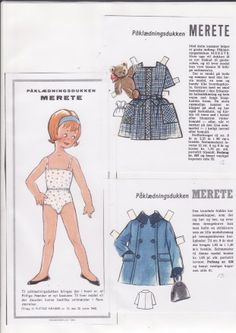 Danish paper doll and clothes for Merete / dukkesiderne.dk