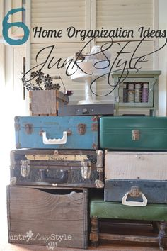 Trying to get organized and overwhelmed by the expense of plastic organizational supplies?  Shop your home for great home organization ideas...JUNK STYLE!  http://countrydesignstyle.com