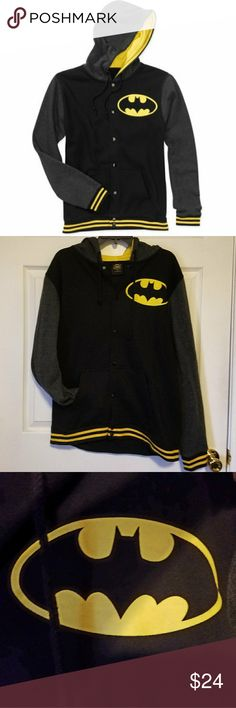 BATMAN Basball Jersey Style Hoodie RN# 115665 Hoodie that snap buttons up.  Has front pockets AND adjustable hood.  Fleece lining.  Worn once or twice, no flaws.   Size Medium.  Note: The size tag has been removed but I know I bought this as a medium. Batman Jackets & Coats Bomber & Varsity