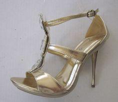 Marichi Mani Gold Rhinestone Large Stone Dress Metallic Heel Shoes Size 6 #MarichiMani #Partyshoes #SpecialOccasion