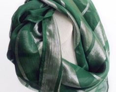 Hunter Green silk scarf, Dark Green Scarf, Sparkle Holiday Gifts, Trending Gift, Silk large headscarf Birthday gifts for under 50 by blingscarves. Explore more products on http://blingscarves.etsy.com