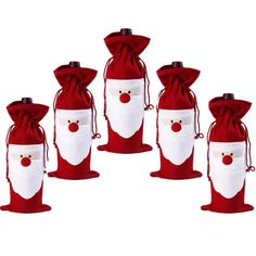 Christmas Santa Claus Wine Bottle Decoration Bag Cover for Xmas Gift Dinner Party Table Decor – 6PCS