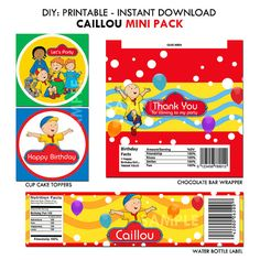 Caillou Birthday Package, Printable Set (Mini Pack)