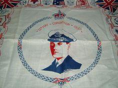1930s Vintage Handkerchief for the Coronation of King George VI Vintage Royalty Royal Souvenir Royal Coronation