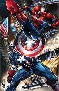 #Spiderman #Fan #Art. (Captain America vs. Spider-Man!) By: Mike Lilly. (THE * 5 * STÅR * ÅWARD * OF: * AW YEAH, IT'S MAJOR ÅWESOMENESS!!!™)[THANK Ü 4 PINNING<·><]<©>ÅÅÅ+(OB4E)
