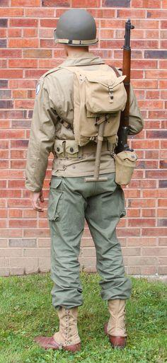 Uniform drab green rear