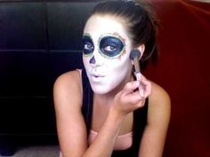 Sugar Skull Halloween Makeup Tutorial @Heather Creswell Creswell Creswell Creswell Creswell Rose this would have been handy a year ago...