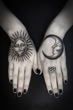 This sun and moon hand tattoo like day and night | Tattoomagz.com