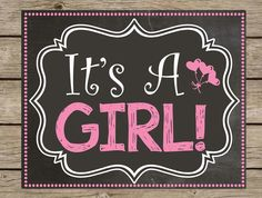 Gender Reveal Printable sign. It's a BOY. It's a GIRL. Chalkboard ...