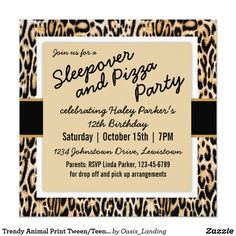 Trendy Animal Print Tween/Teen Birthday Party Card - A cute birthday party invitation for teen/tween birthdays in leopard print style. Sold at Oasis_Landing on Zazzle.